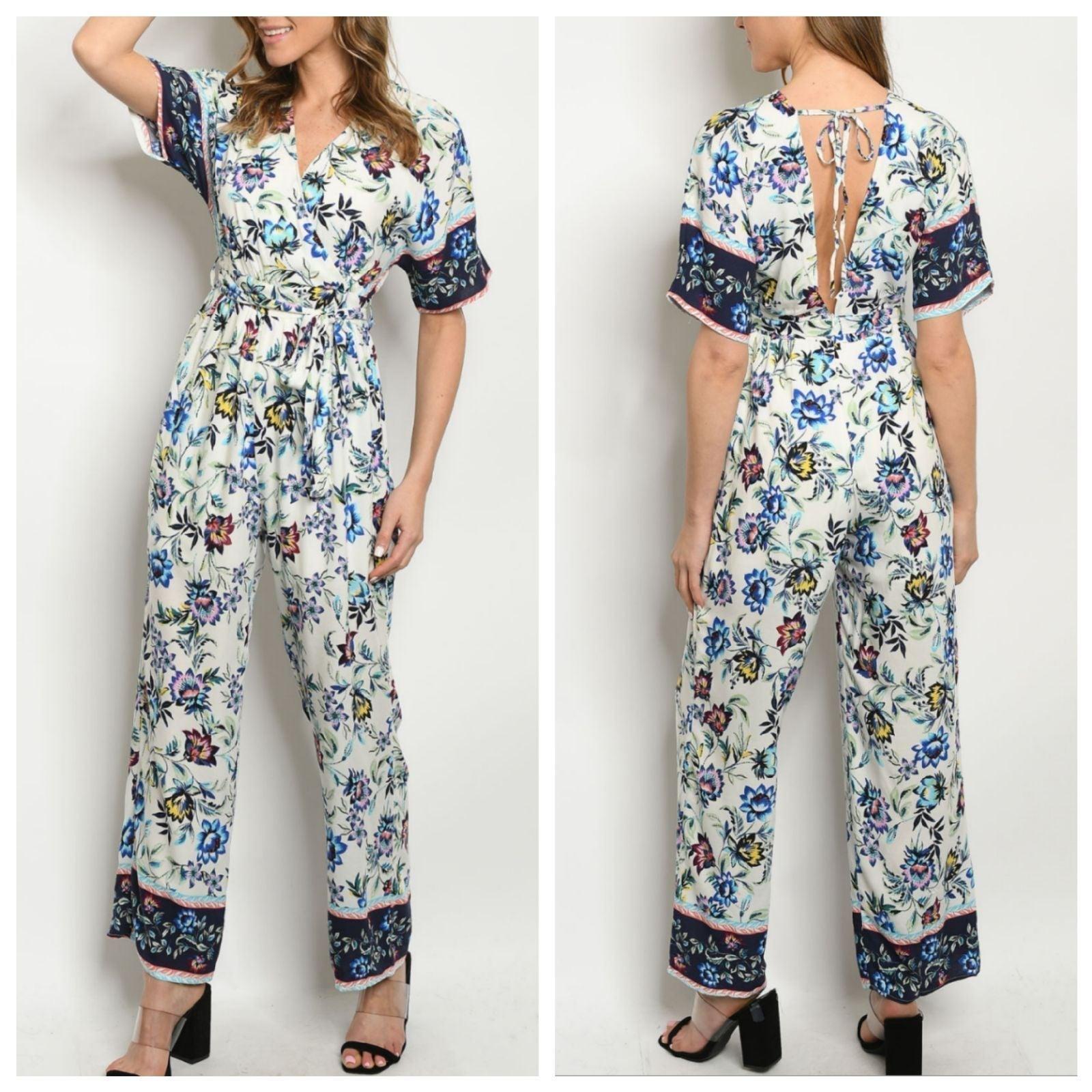 Blue V-neck Floral Print Jumpsuit