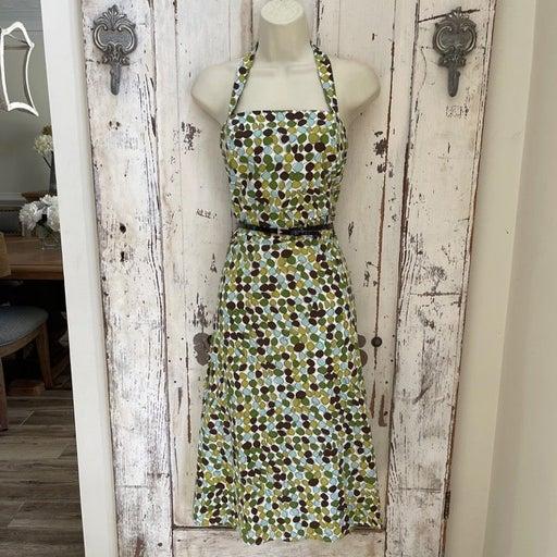 Kim Rogers Size 14W Woman's Green Blue Brown White Halter Sundress Dress