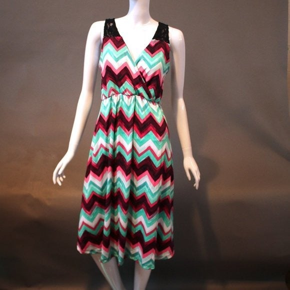 Pink Chevron Dress with Lace Insert