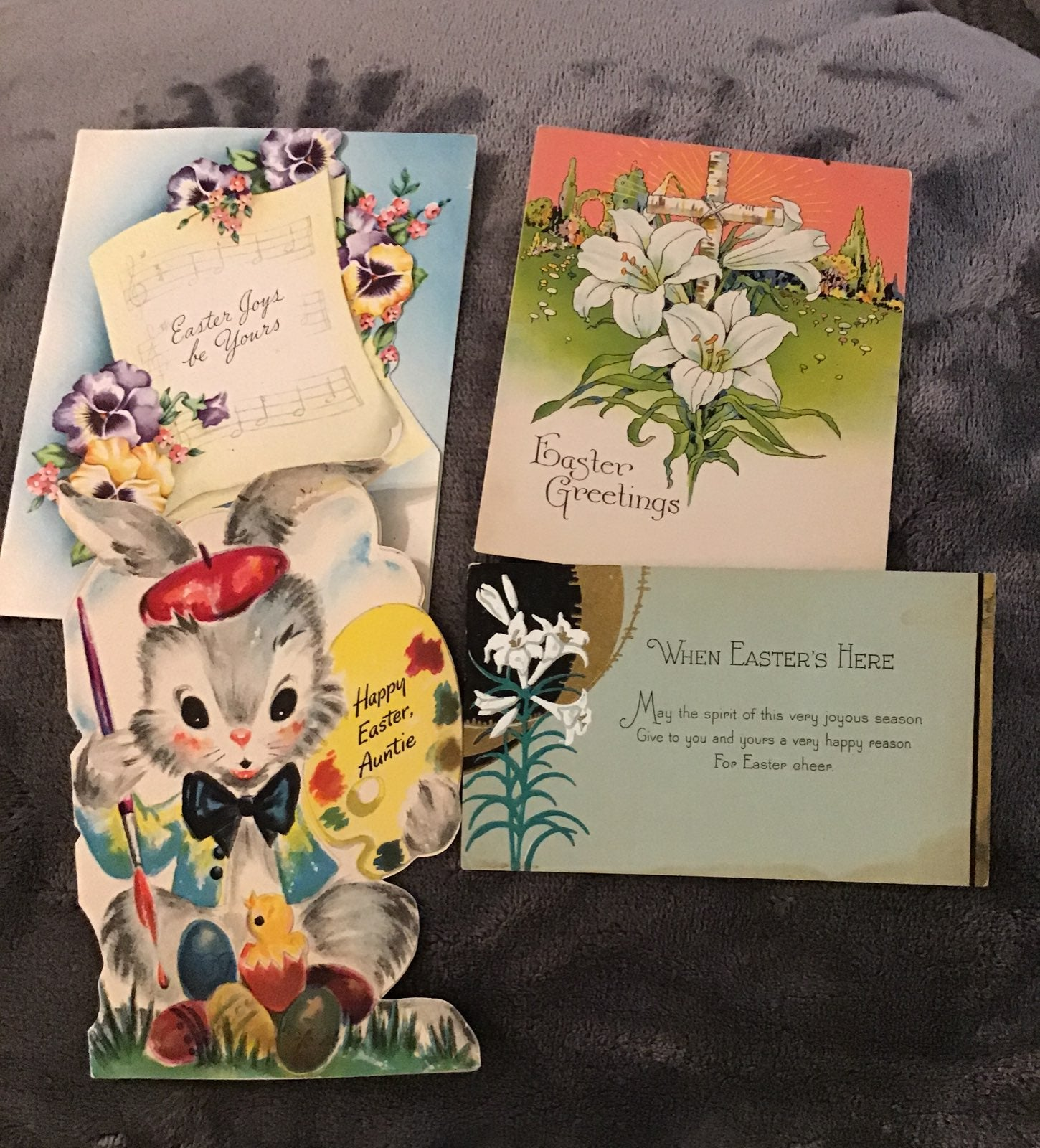 Cards,Easter vintage,2 greeting, 4 cards