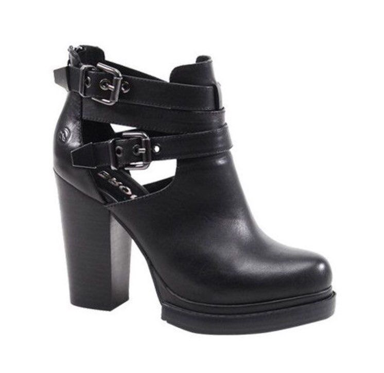 Bronx Top Buckle Black Leather Bootie