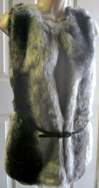 New Poof Vest Gray Faux Fur Size Small