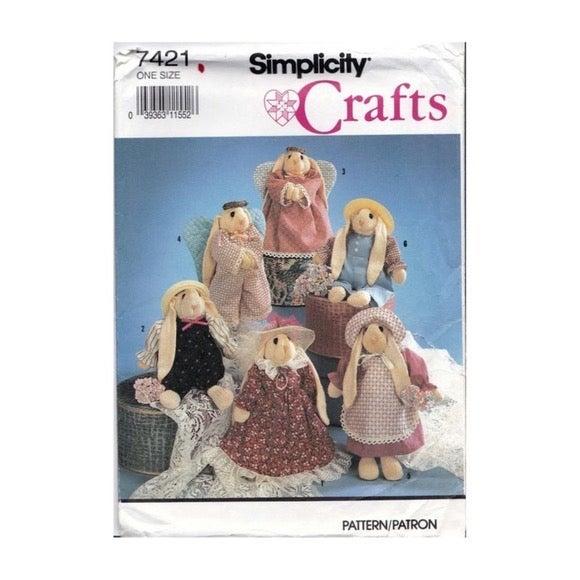 Pattern #7421 Sock Bunny Dolls Sewing