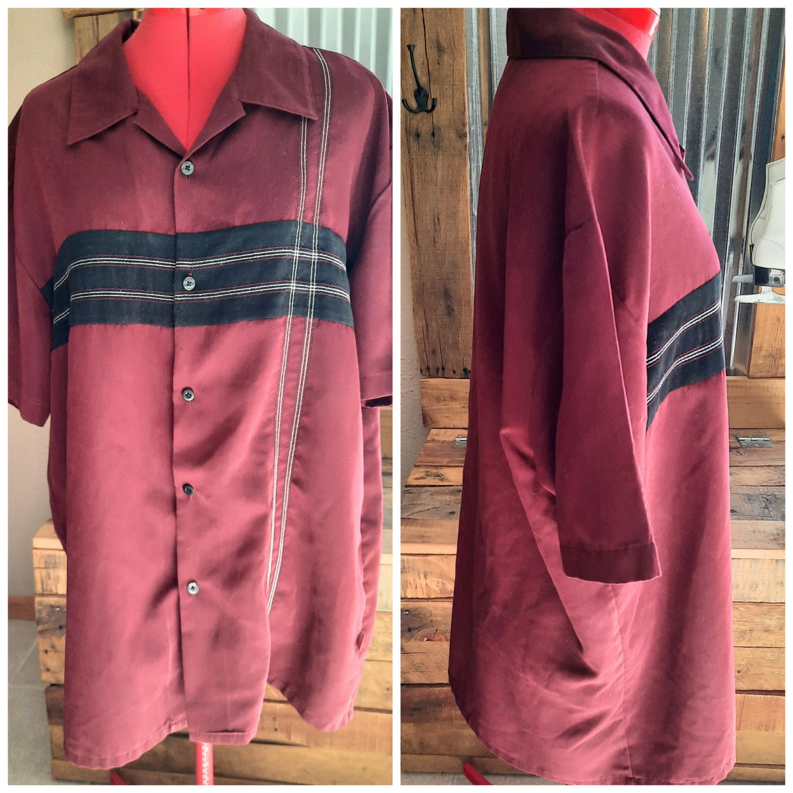 Woodys retro lounge maroon shirt XL
