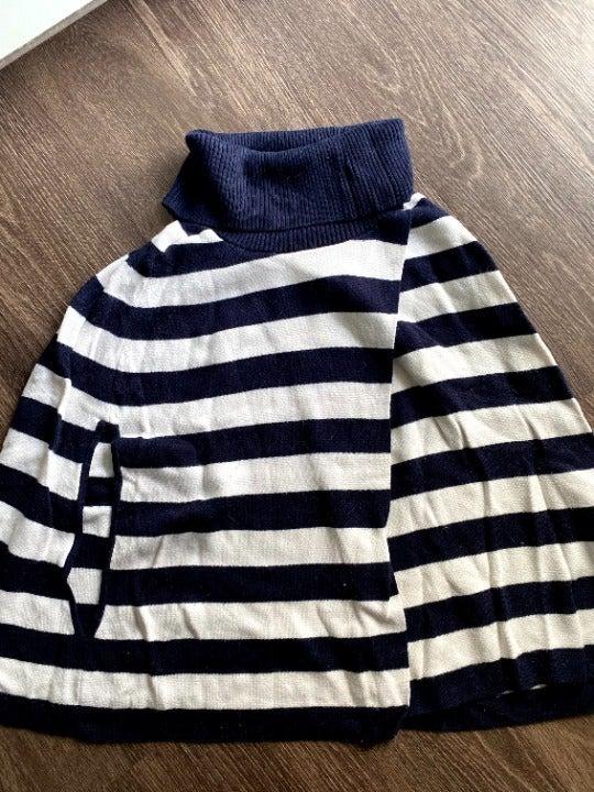 Talbots Blue and White Striped Poncho