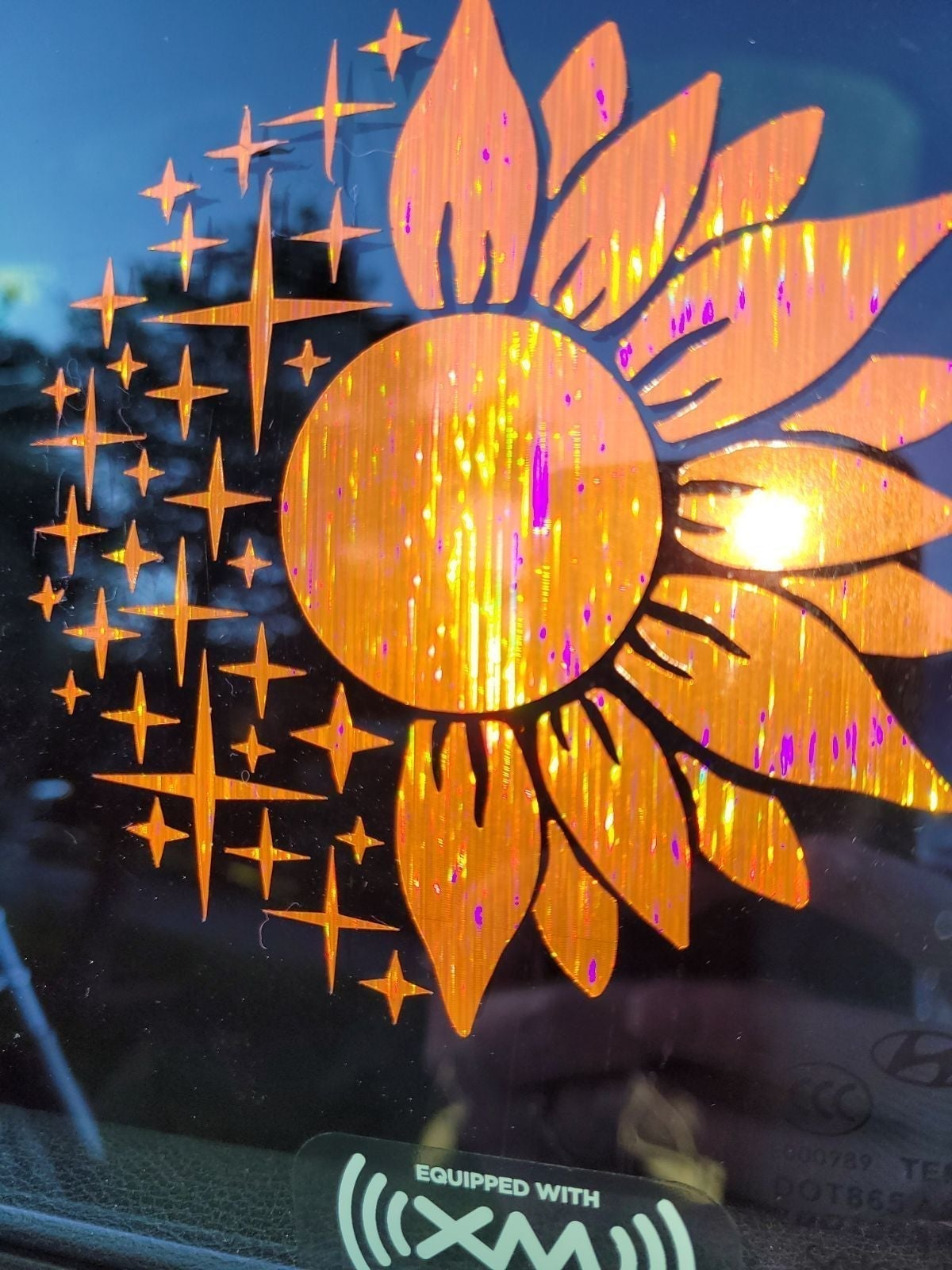 Holographic stars sunflower car decal