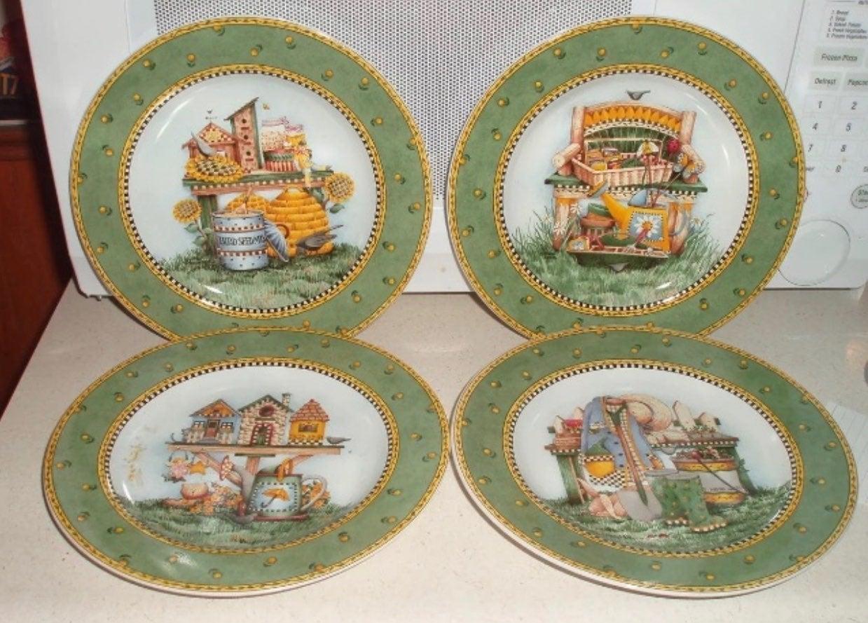 Set of 4 Debbie Mumm Garden Plates!