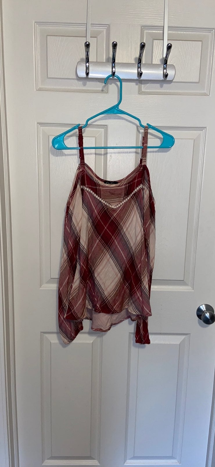 Flannel, Off-The-Shoulder w/ Straps Blou