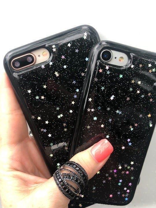 NEW iPhone 6Plus Black Glitter Star Case