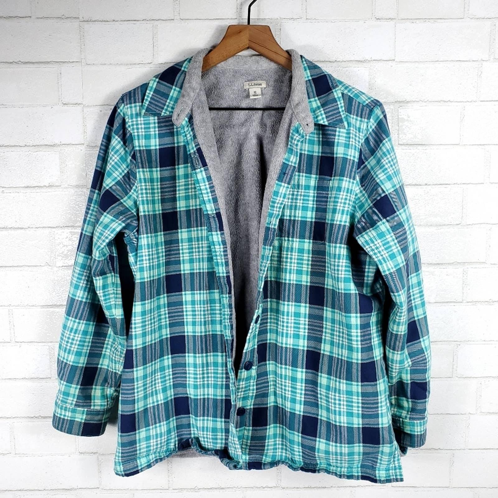 L.L Bean lined plaid button jacket | M