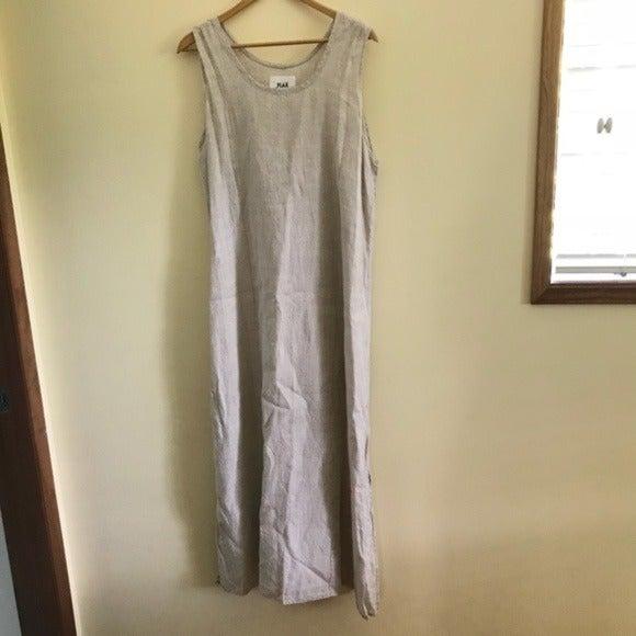 Flax Oatmeal Midi 100% Linen Shift Dress