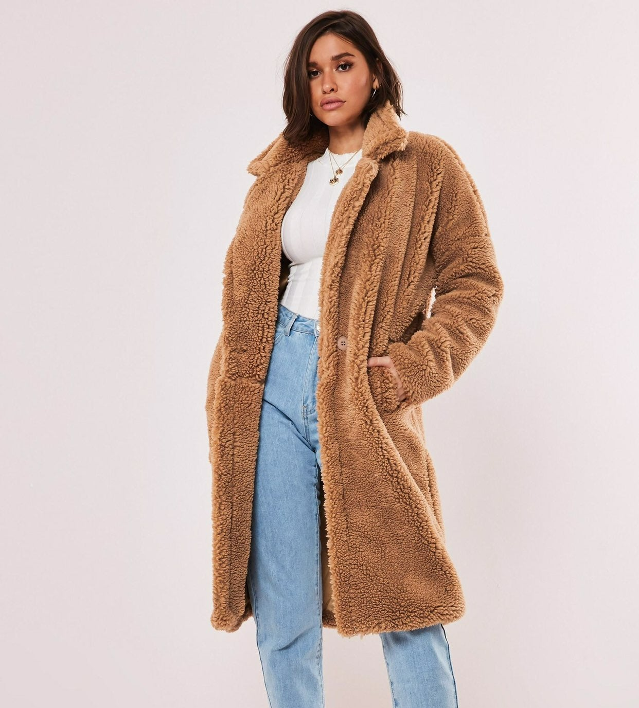 Missguided Tan Borg Teddy Oversized Coat
