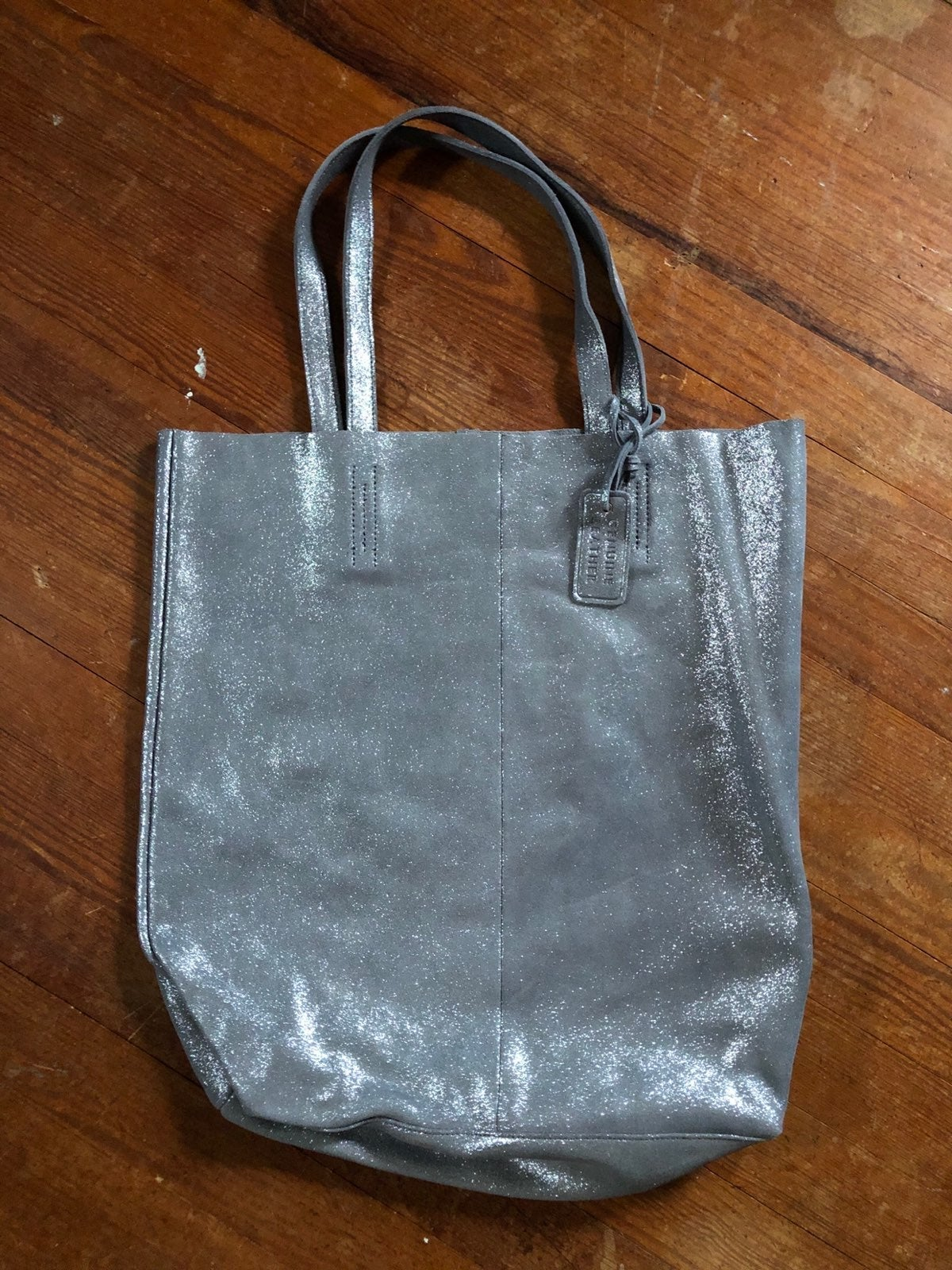 NWT Merona Silver Leather Tote