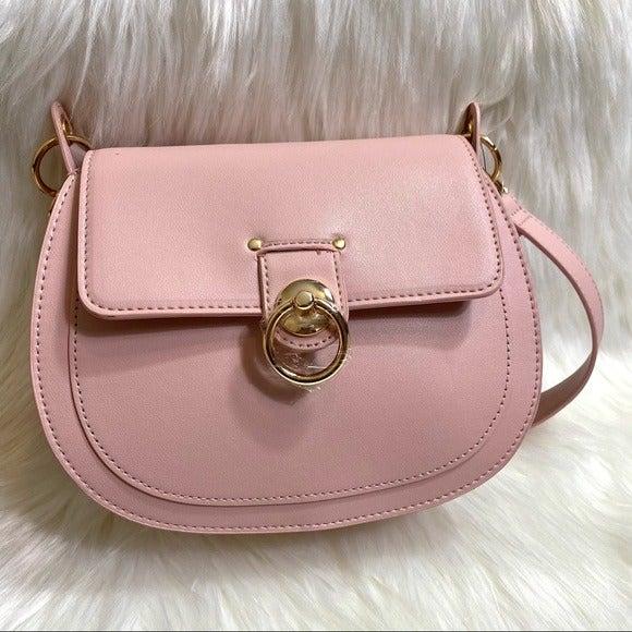 Badgley Mischka Saddle Letter Lock Blush Bag