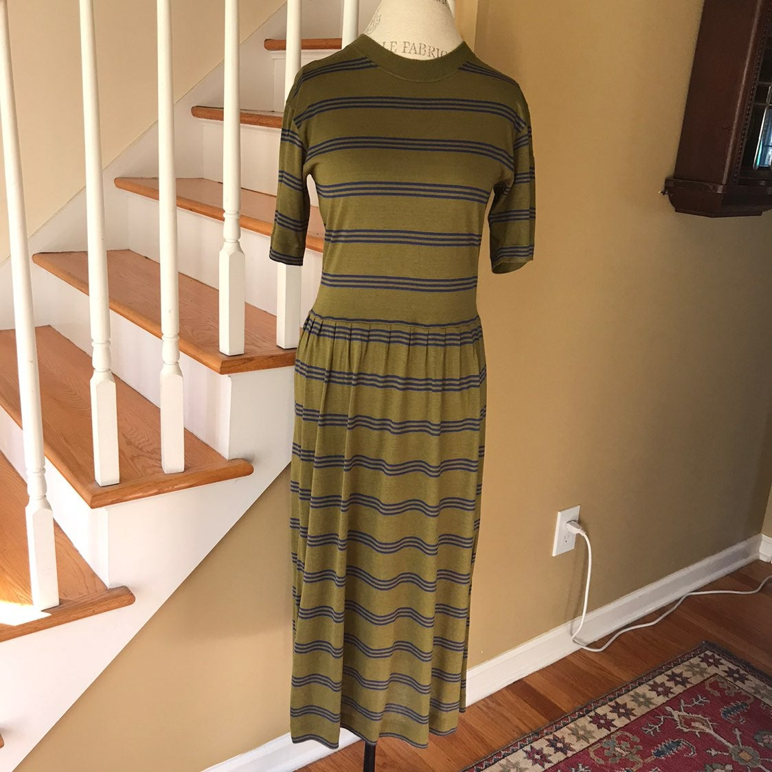 VTG Benetton Green Dress Sweater Twinset