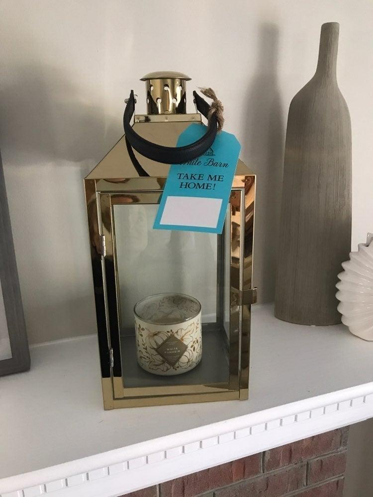 White Barn Bath Body Gold Glass Lantern