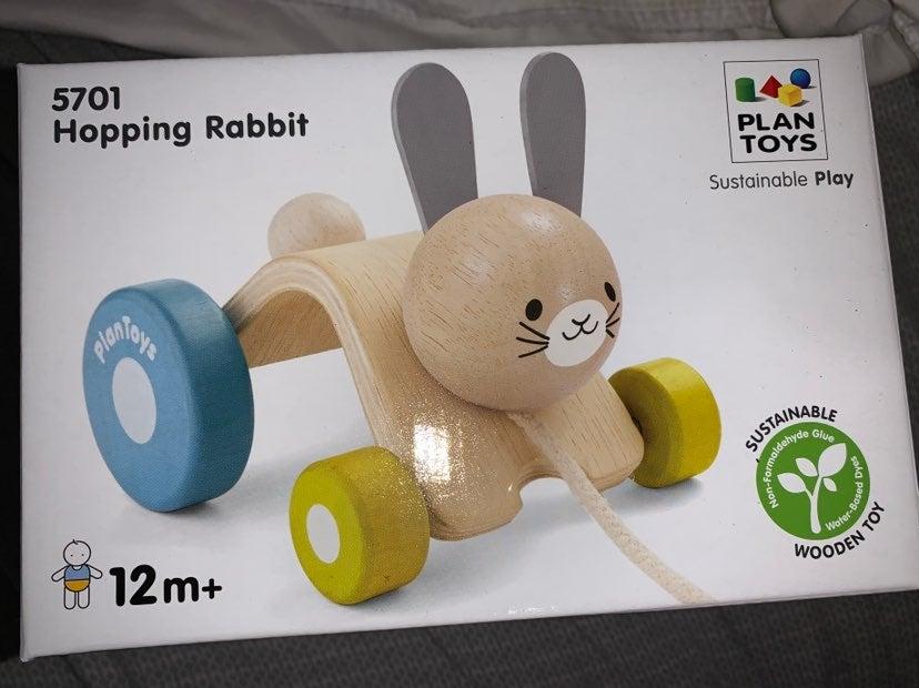 PlanToys Wooden Hopping Rabbit Push Pull