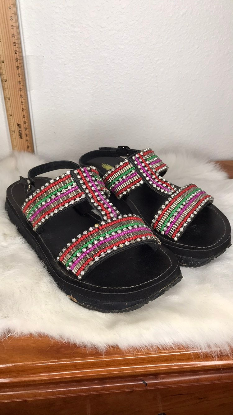 Volatile Black Crystal Beaded Sandals 7