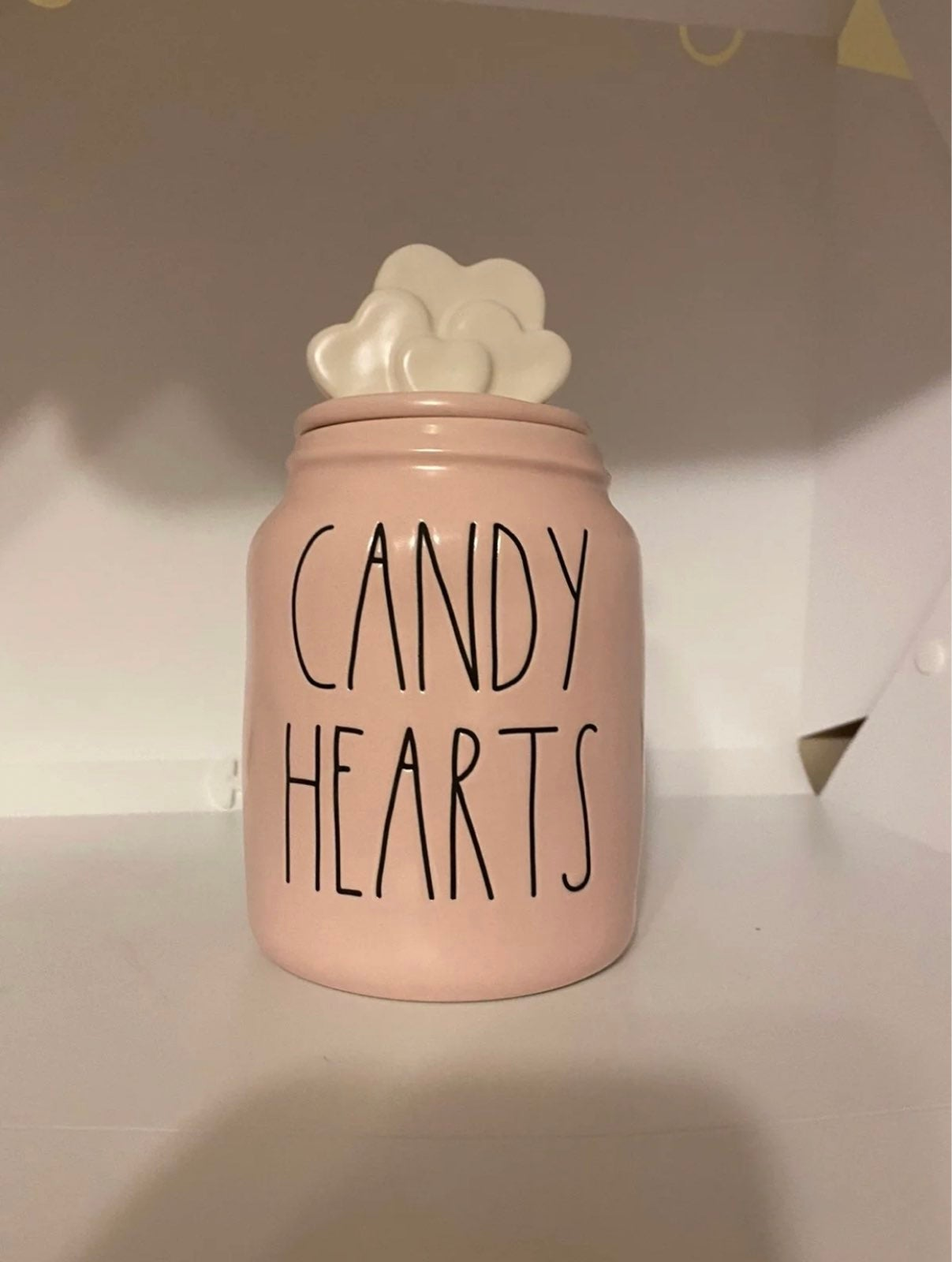 Rae Dunn pink candy hearts baby canister