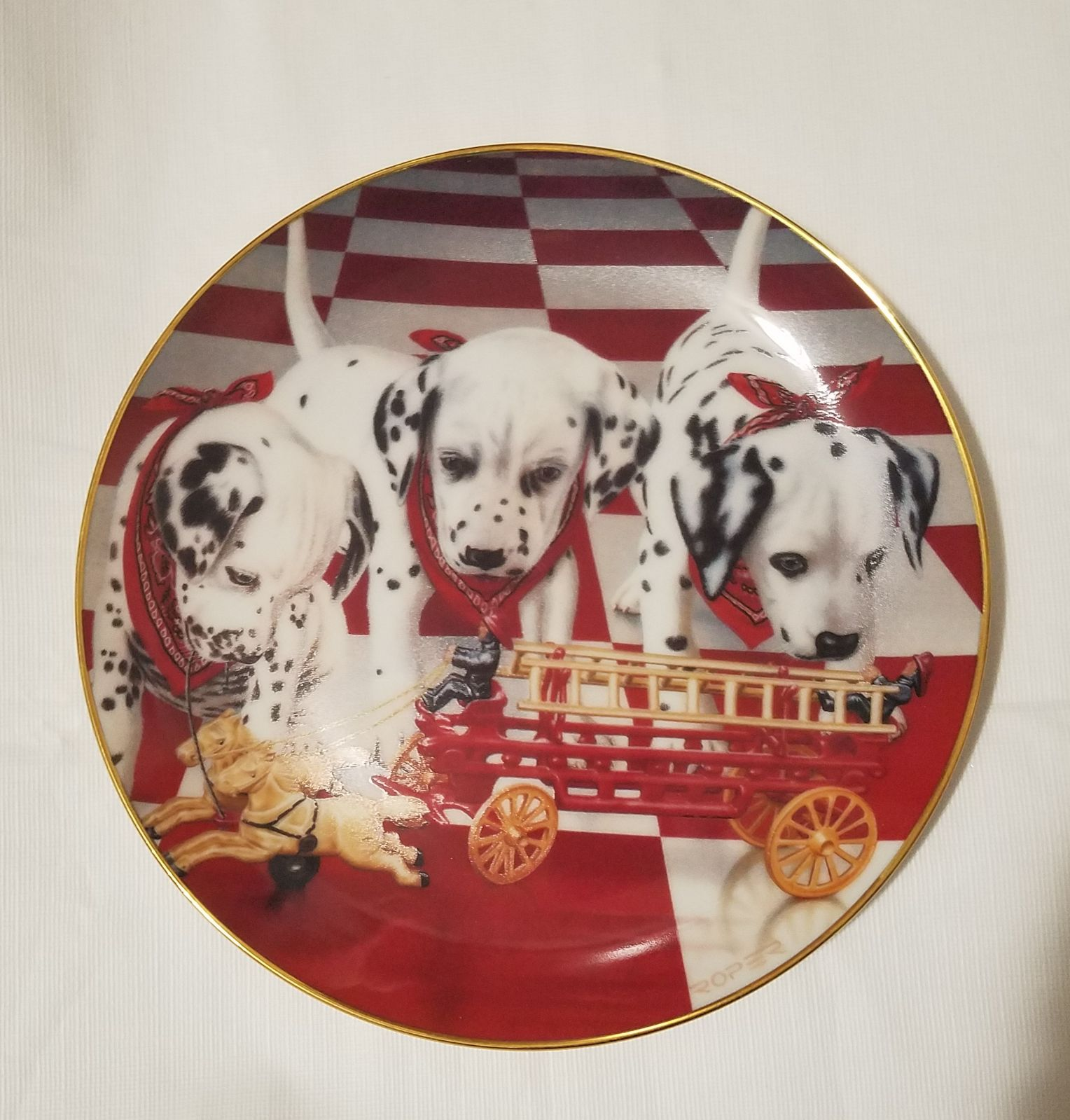 3 puppy dalmatians collectible plate