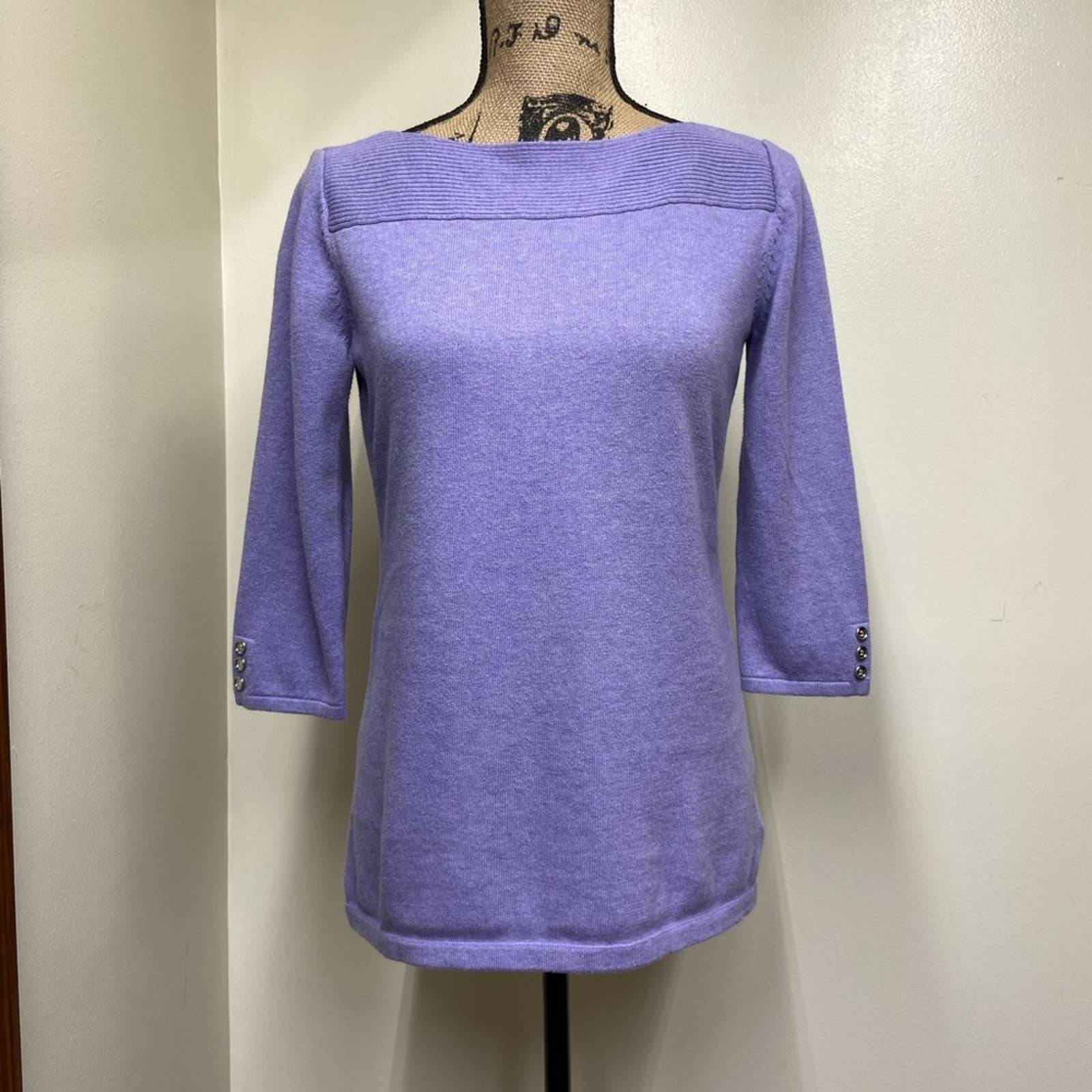 Karen Scott Cotton Knit Top Lavender Sm