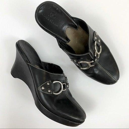 Cole Haan Black Silver Clogs Mules Sz7.5