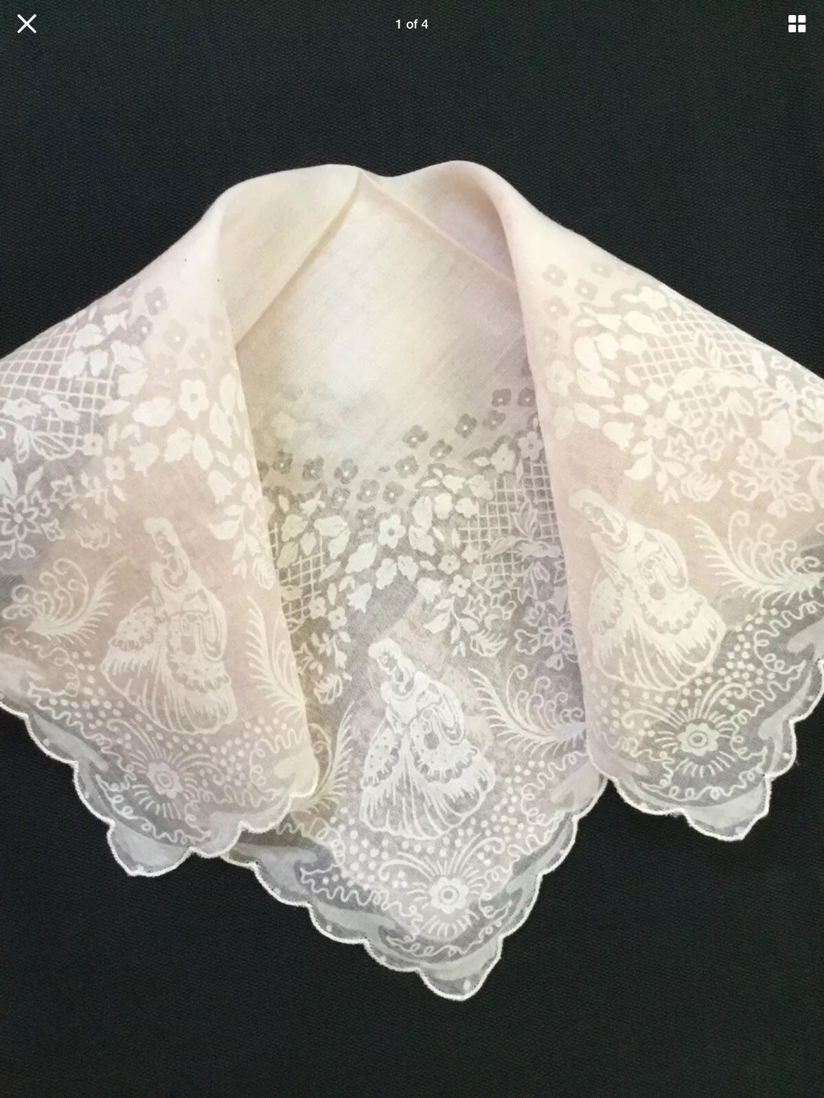 Vtg Southern Belle Shadow Hankie