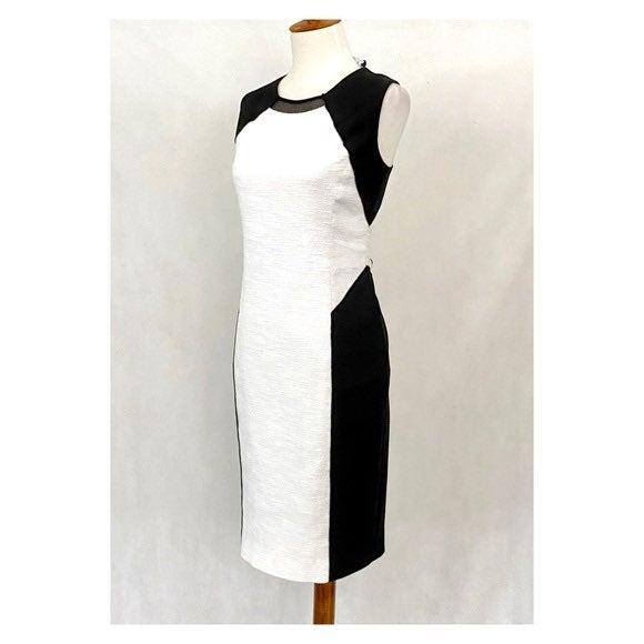 Tahari White Tweed Color Block Sheath