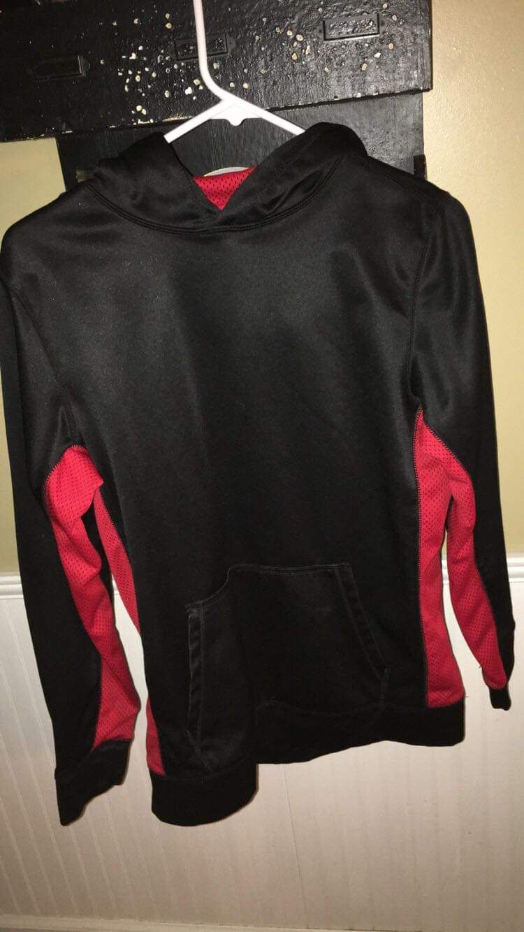 MTA Sport Childs XL Hoodie; Black & Red