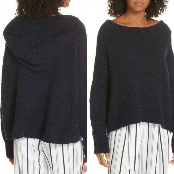 Vince Relaxed Fuzzy Hoodie Navy Sweater