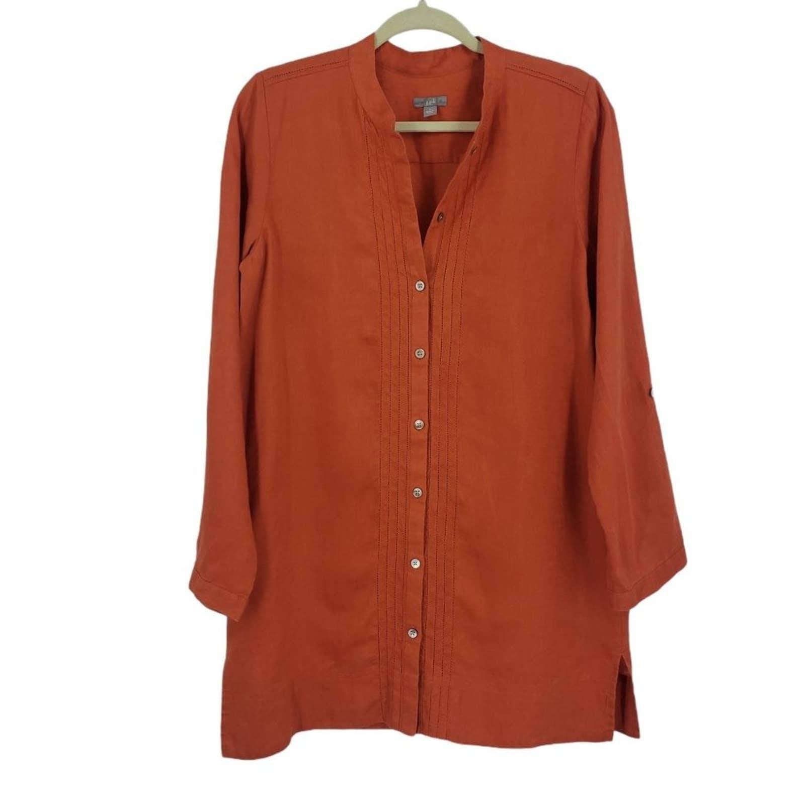J Jill Orange Long Linen Tunic