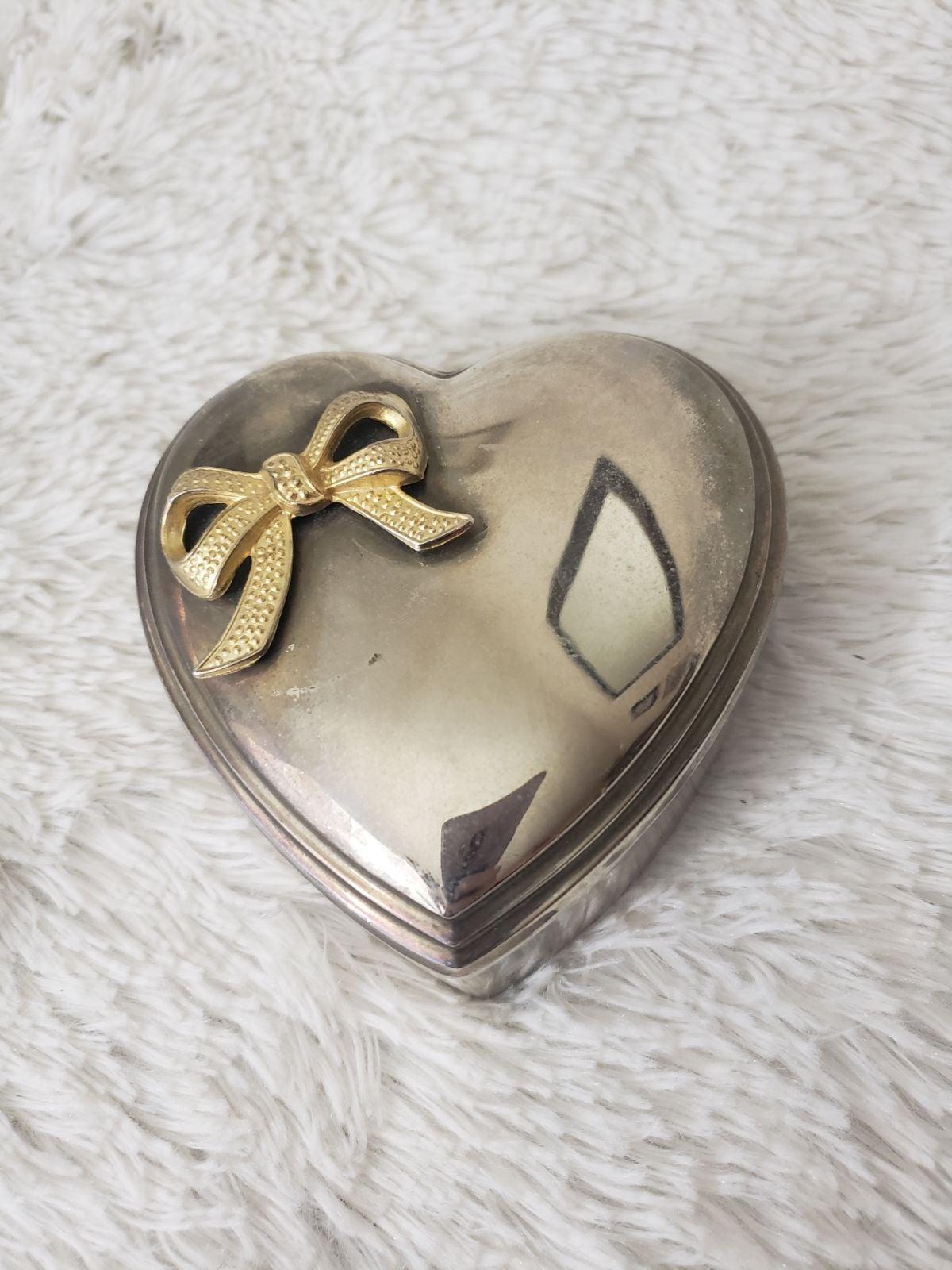 VTG Silver metal heart shaped box