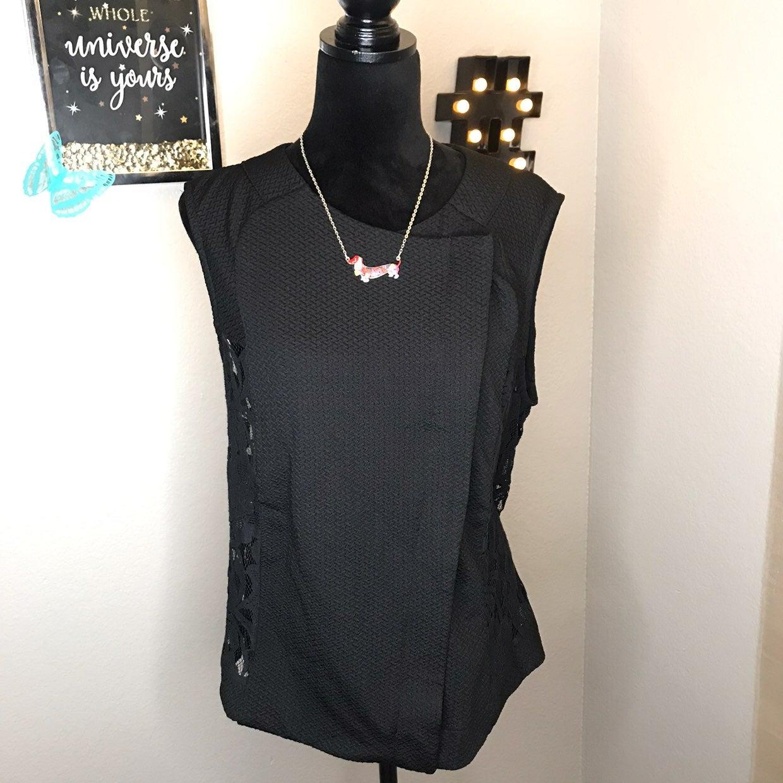 Mossimo Black Vest Full Zip Crew Neck XL