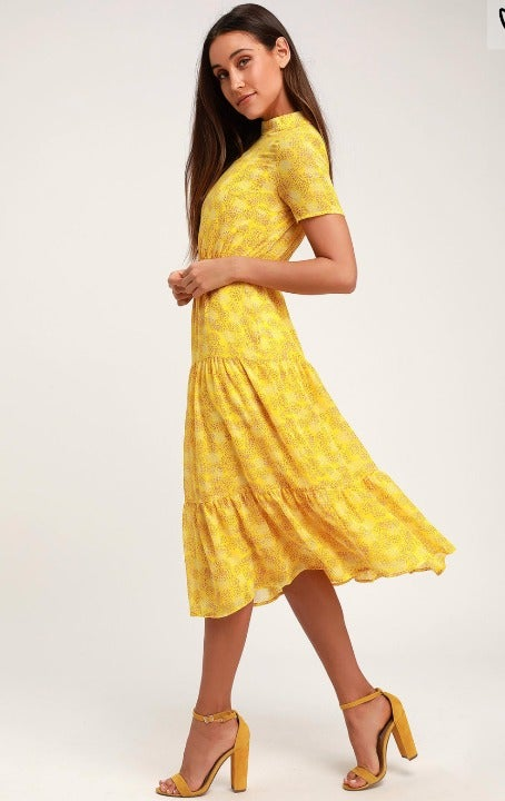 Floral Dressed Up Yellow Floral Midi