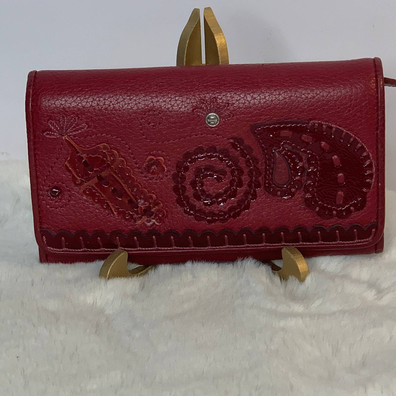 Brighton Red Leather Checkbook Wallet