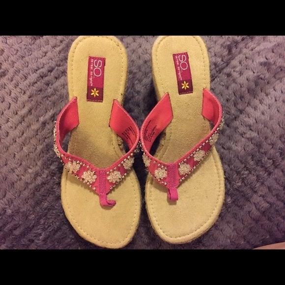 Sonoma Fuchsia Beaded Wedge Sandals