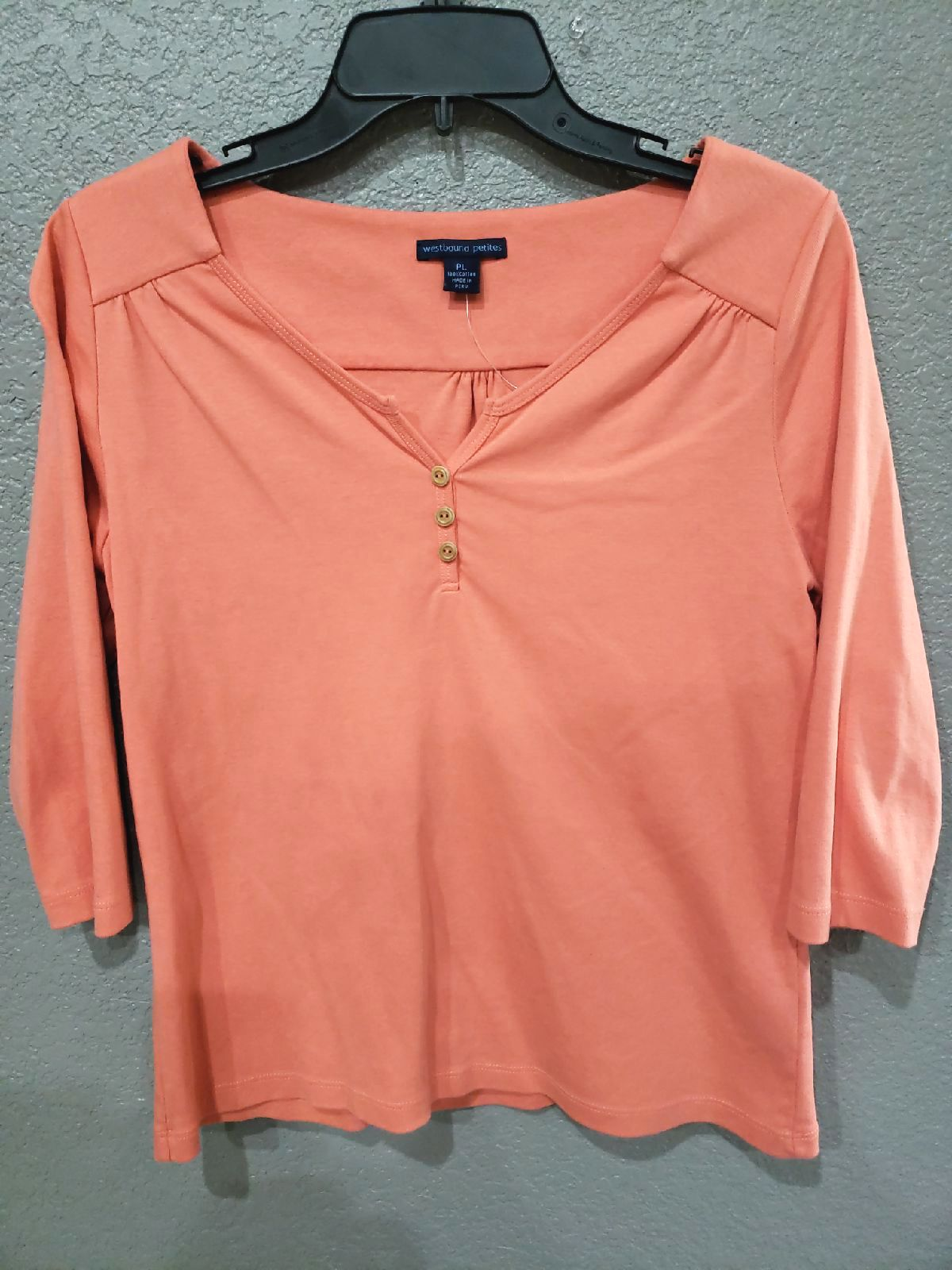 Westbound Petites Coral Knit Top Size PL
