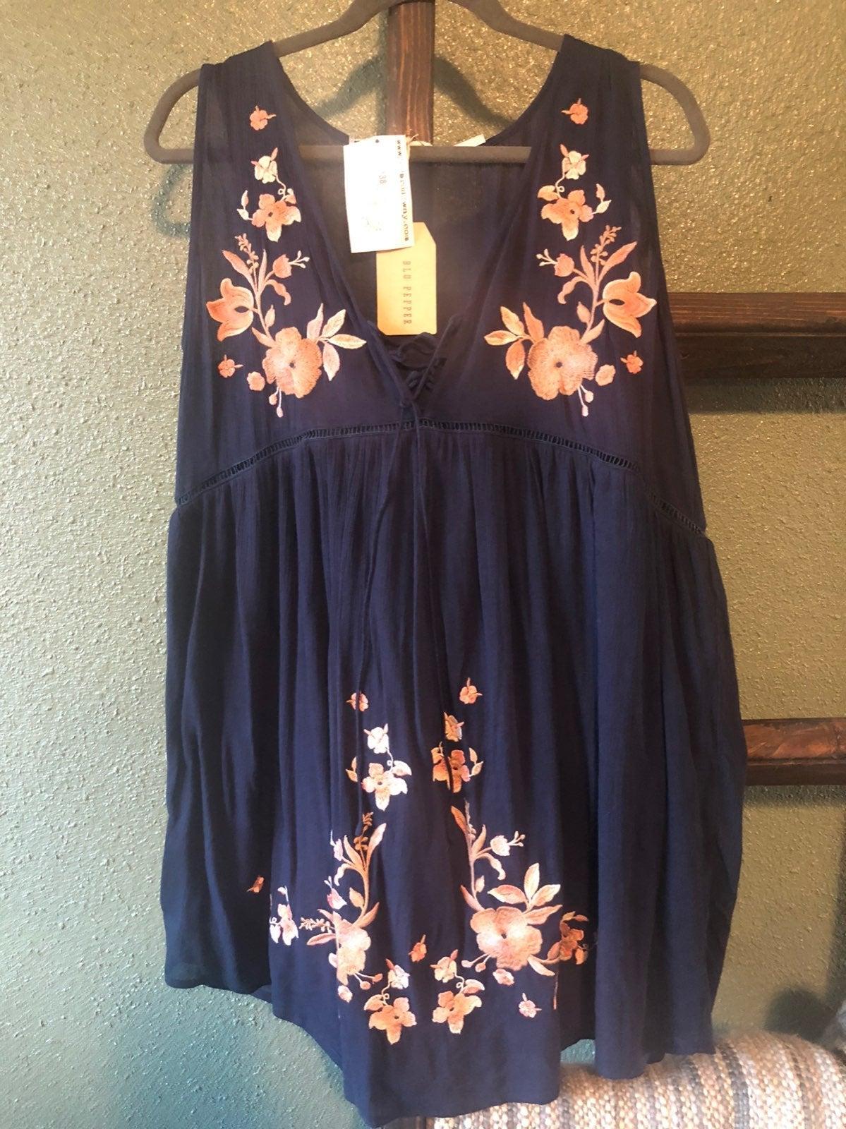 Blue dress with pink floral design!