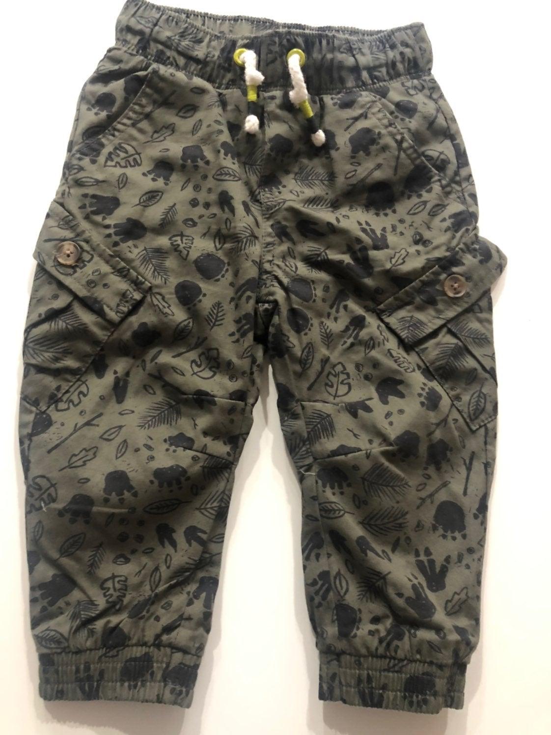 18M dark olive dino cargo pants