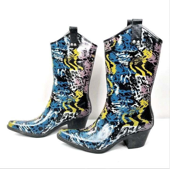 Nomad Rubber Rain Boots Puddles Abstract