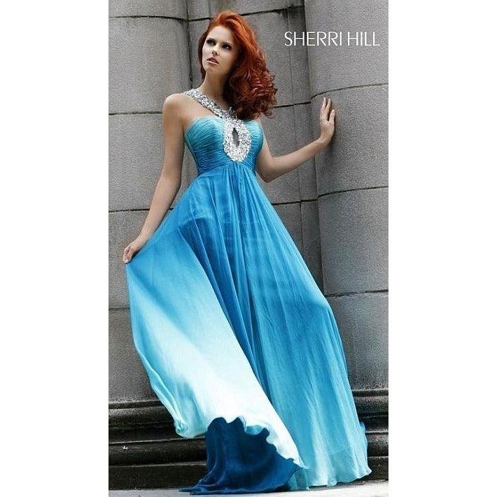 Sherri Hill Keyhole Halter Silk Chiffon