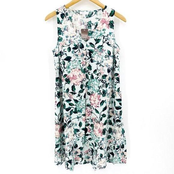 J. Jill Blue Floral Linen Small Dress