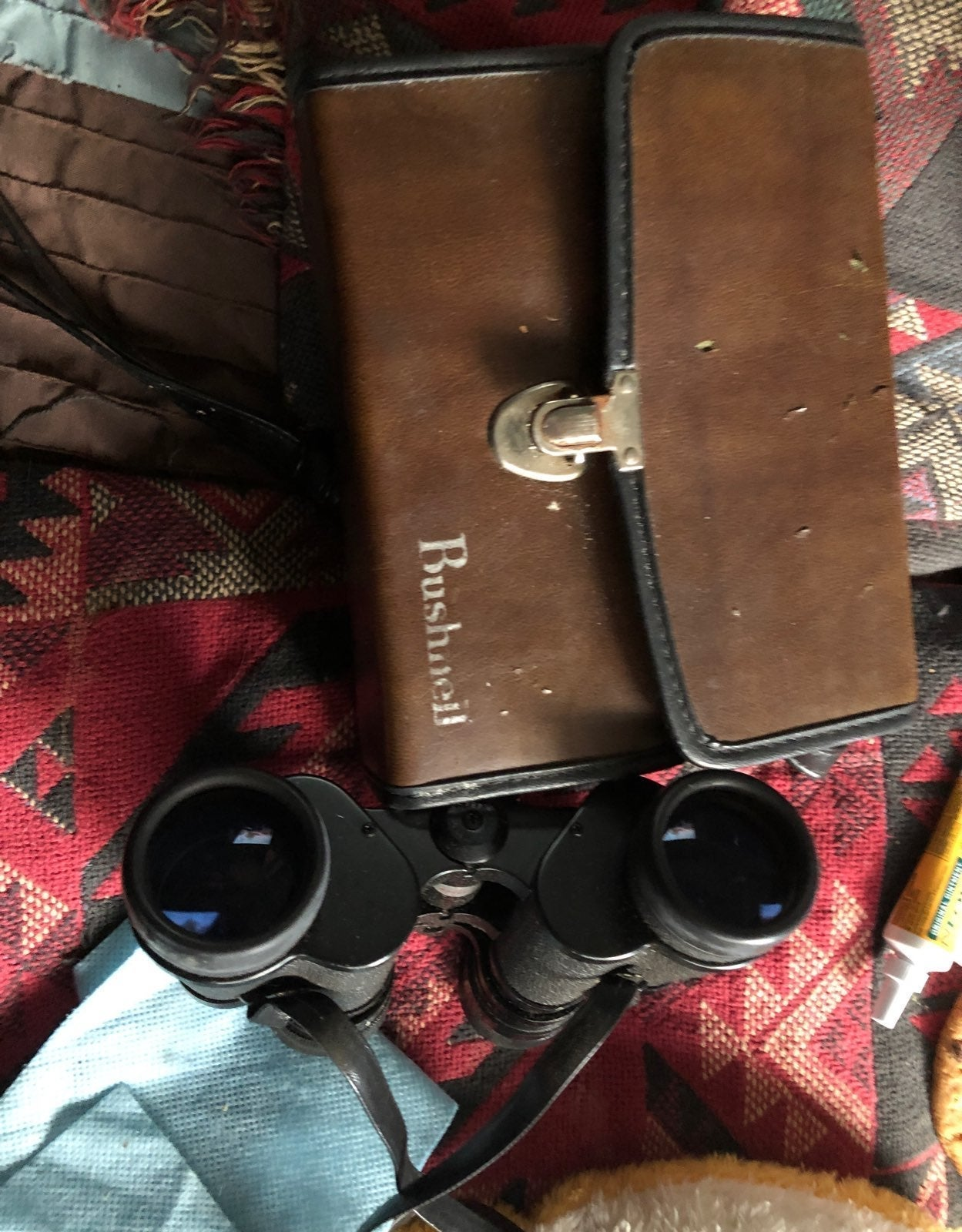 1970s binoculars and case