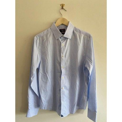 Men's Blue UNTUCKit Slim Fit Grid Check Sport Shirt M
