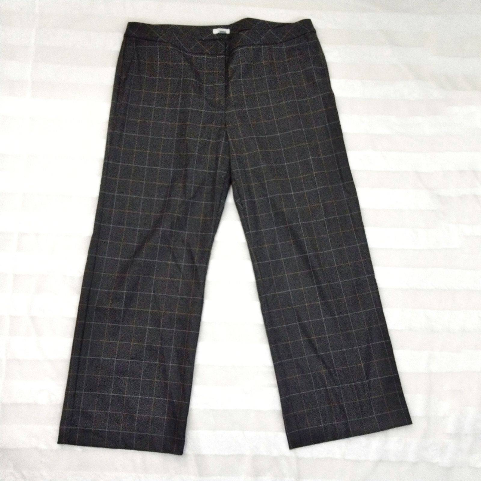 J. Jill Check Dress Pant Wide Gray 18 S