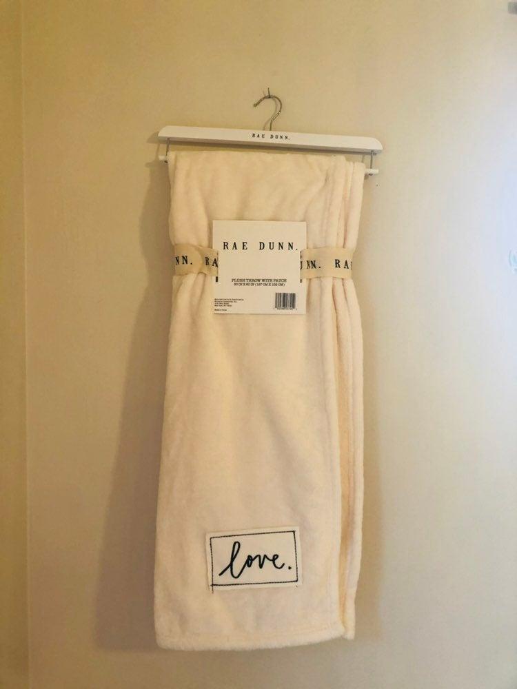 Rae Dunn LOVE Blanket - cursive