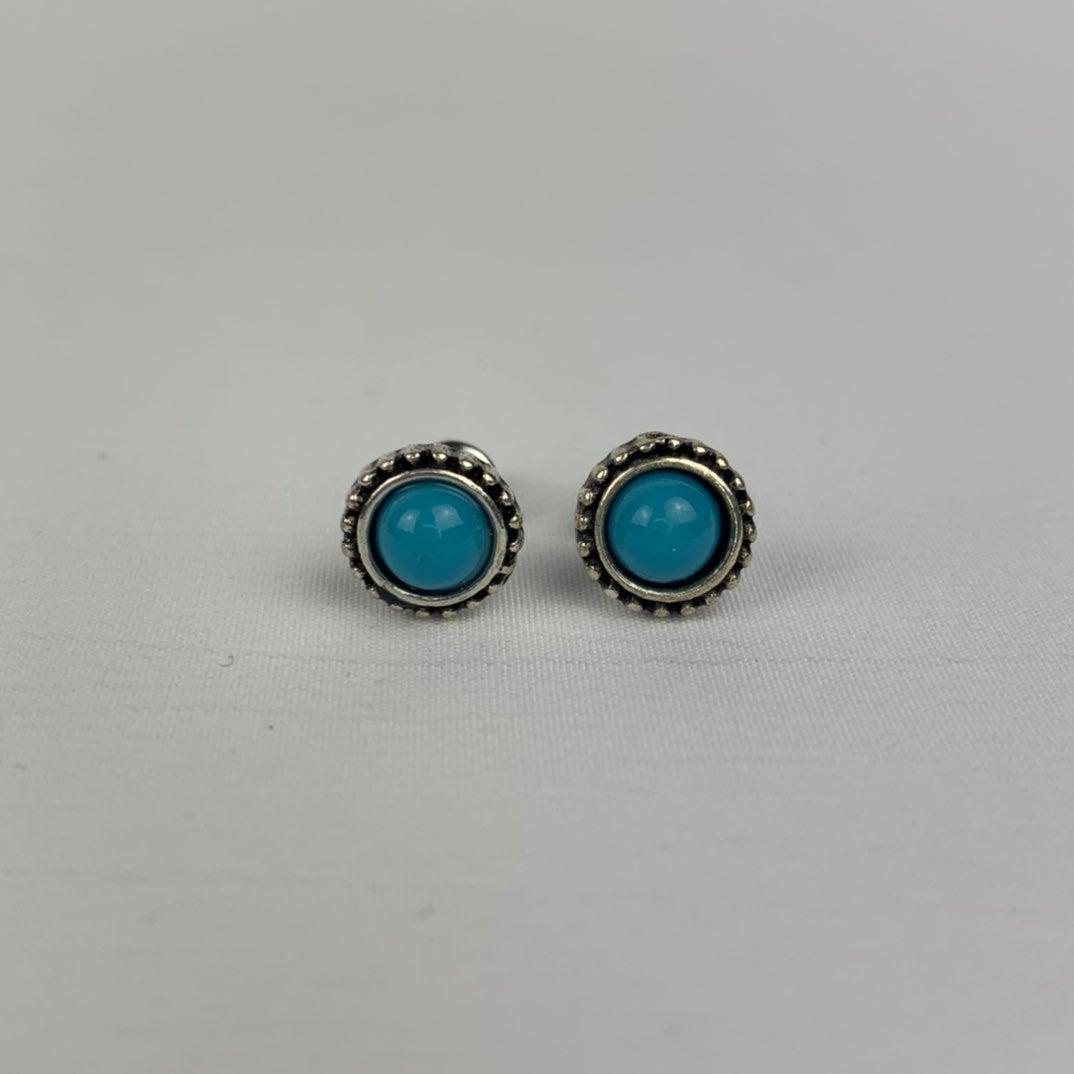 Circle Turquoise Stud Earrings