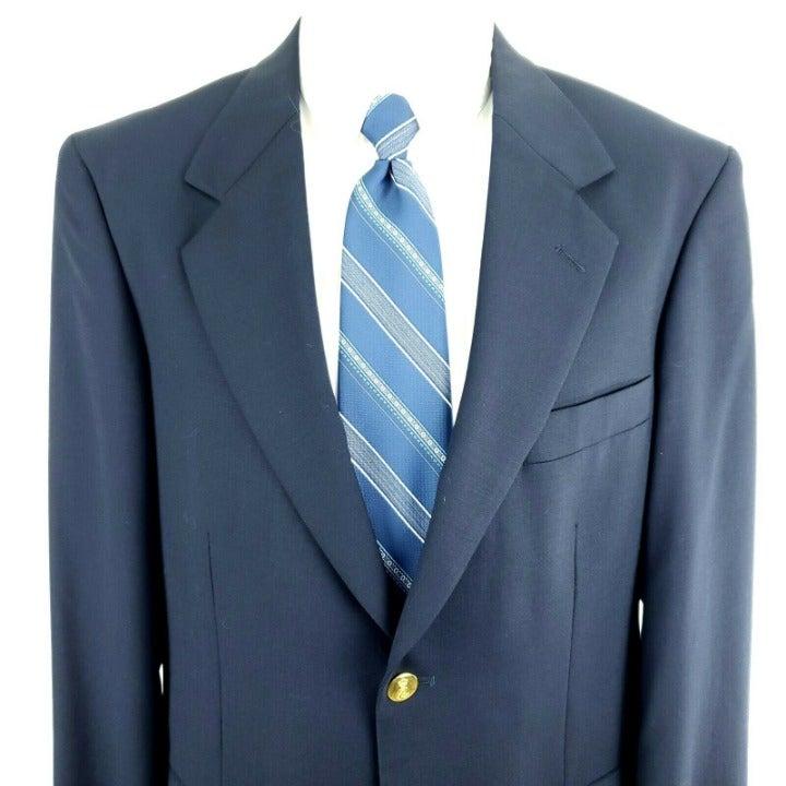 Savile Row 38R 2 Gold Button Navy Wool