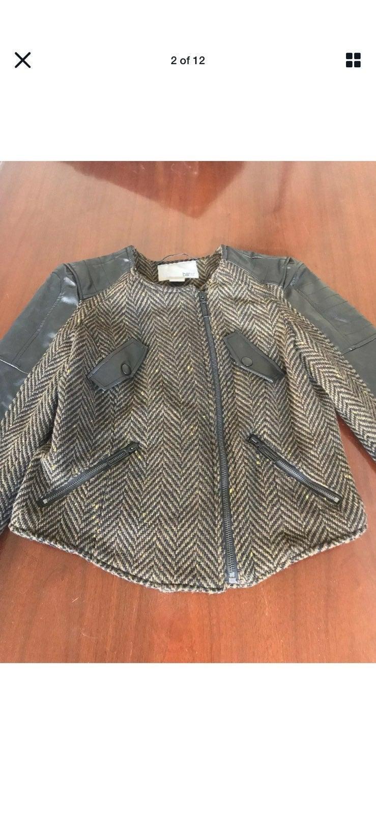 NEW BAR III faux leather tweed jacket/S