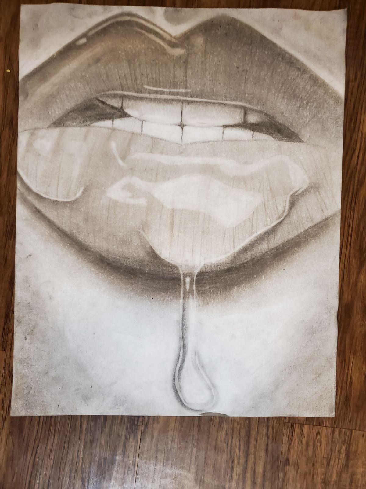 Hand drawn wet lips